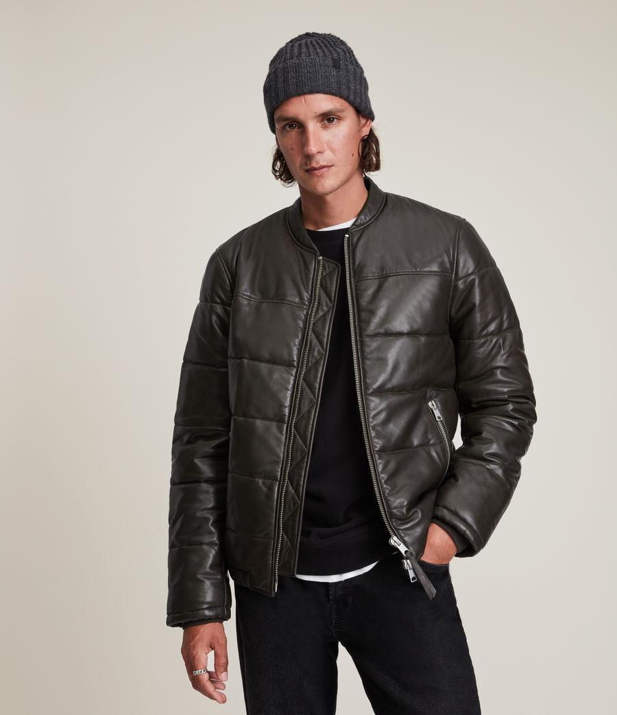 Herren Russel Leather Puffer Jacket (khaki) - Image 1