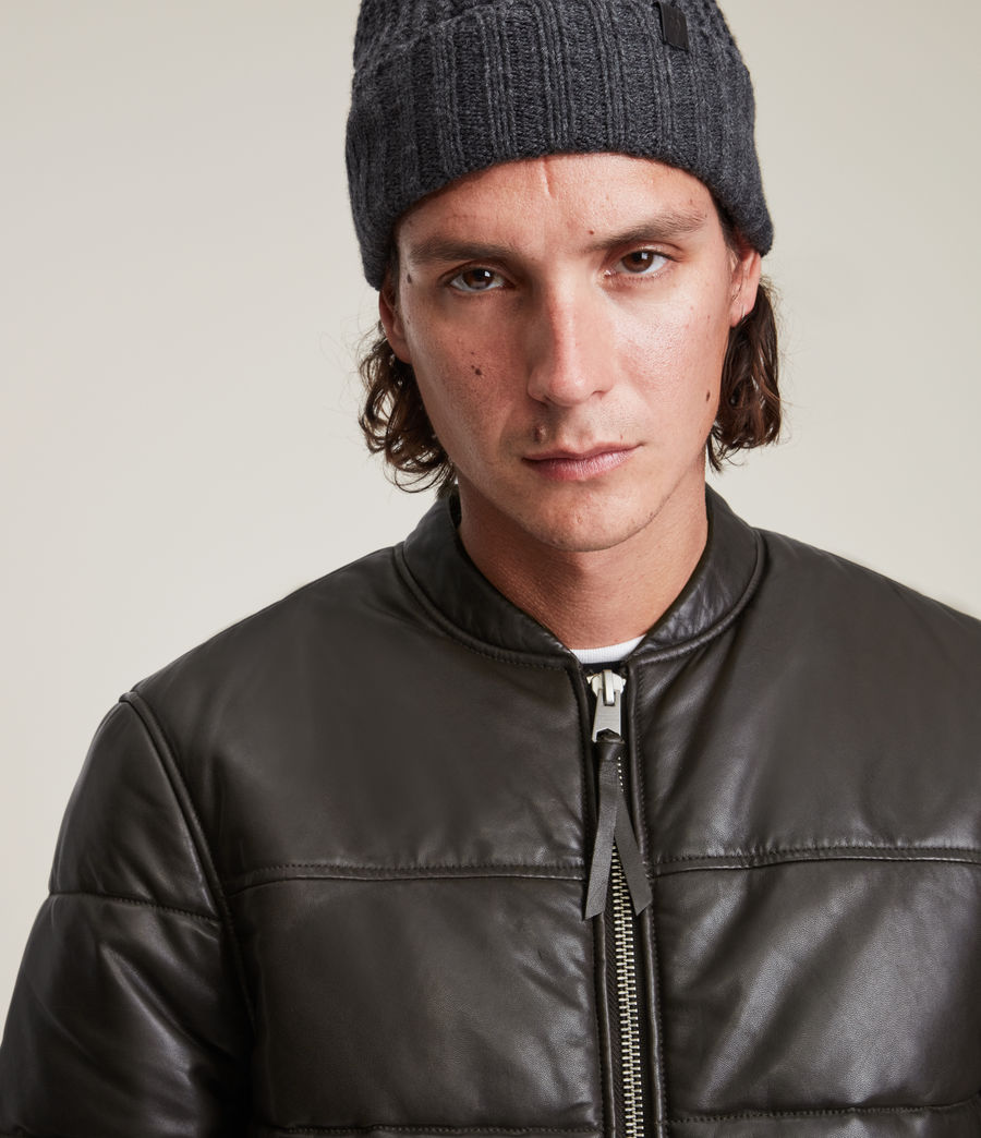 Herren Russel Leather Puffer Jacket (khaki) - Image 2