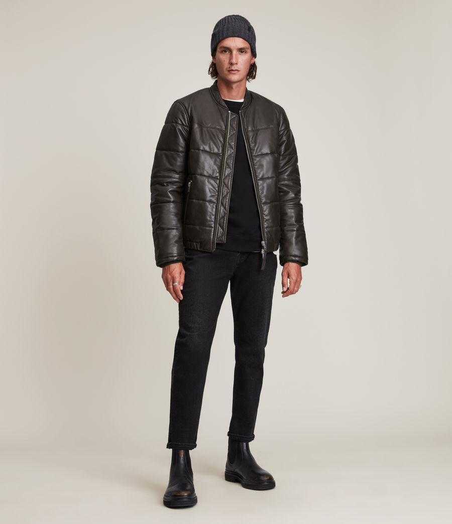 Herren Russel Leather Puffer Jacket (khaki) - Image 3