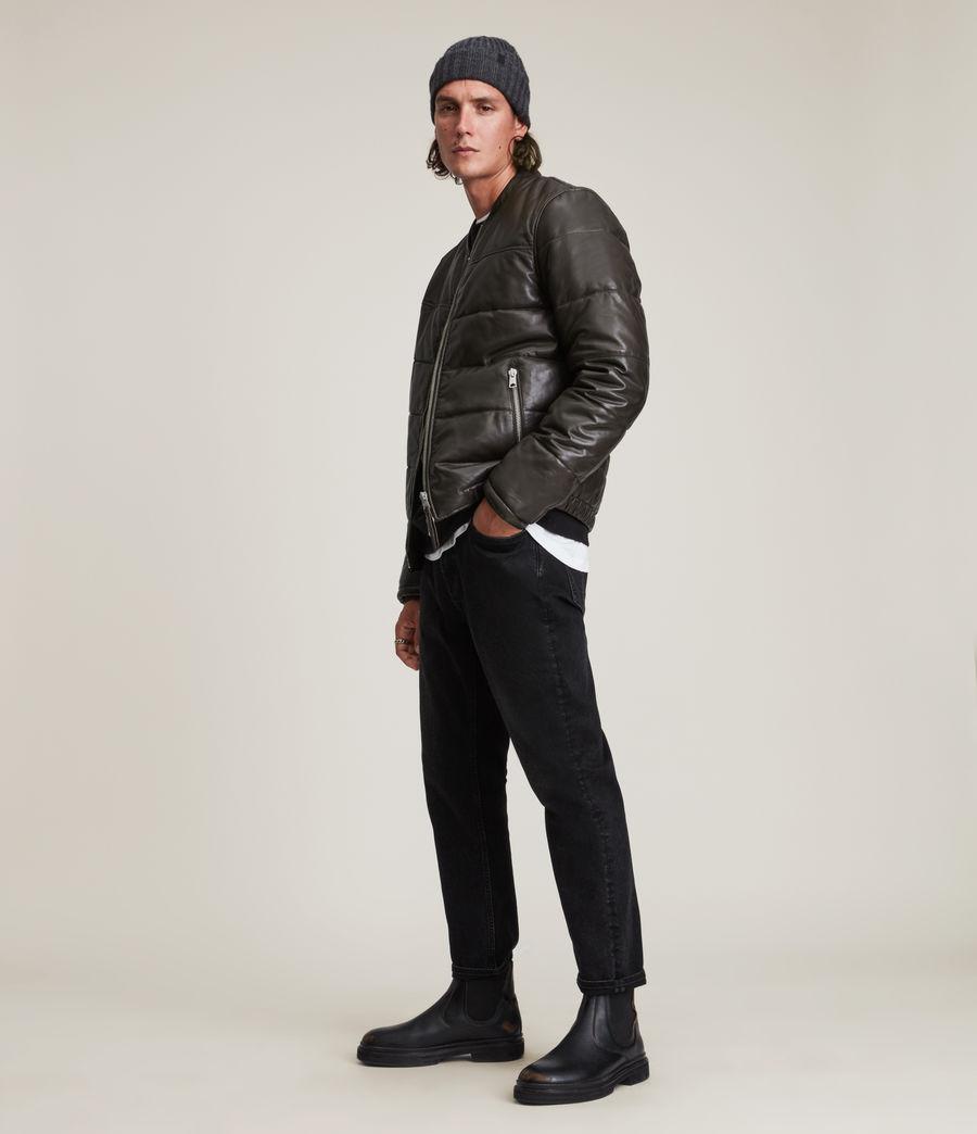 Herren Russel Leather Puffer Jacket (khaki) - Image 4