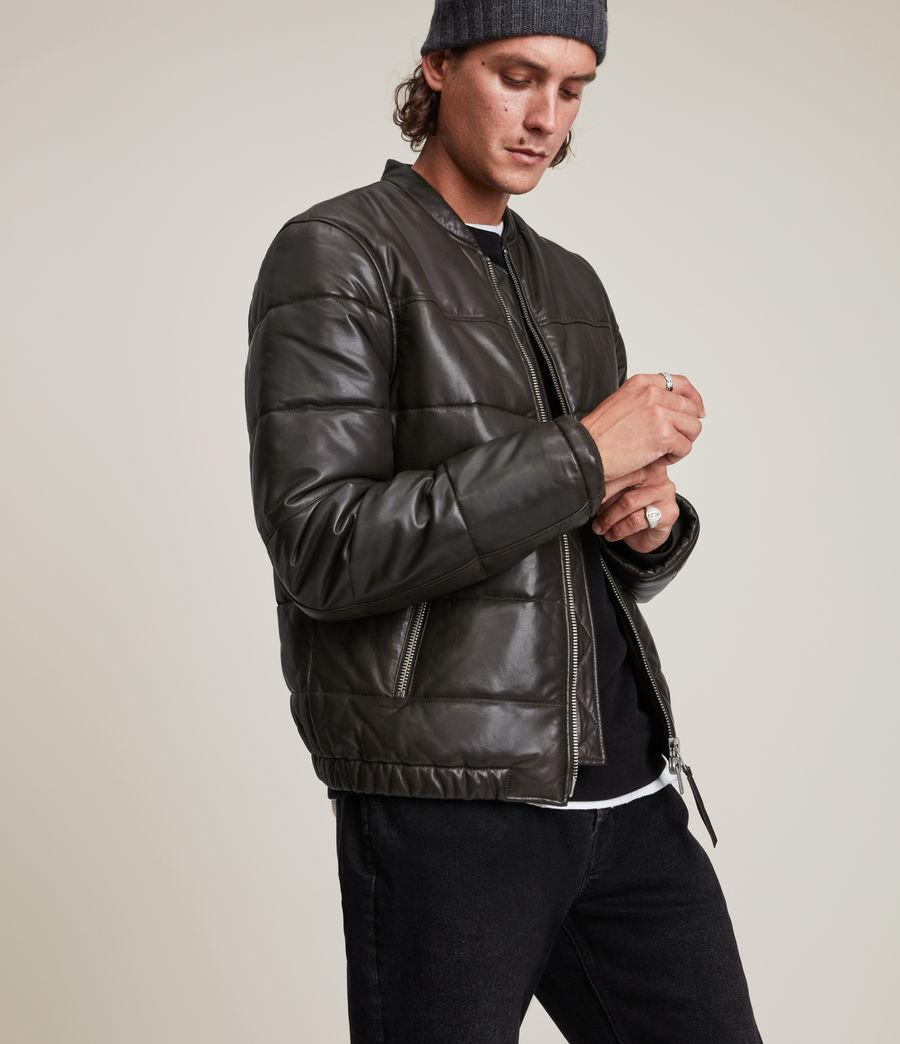 Herren Russel Leather Puffer Jacket (khaki) - Image 5