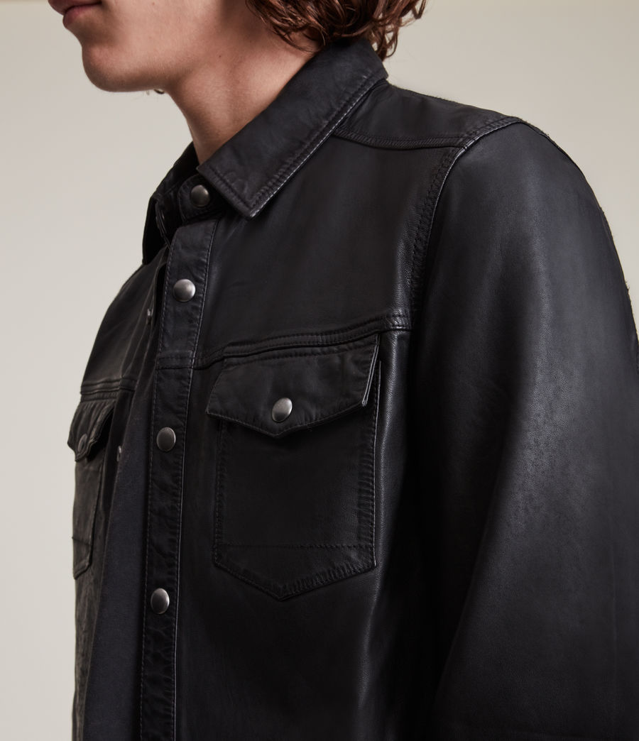 Herren Irwin Leather Shirt (black) - Image 2