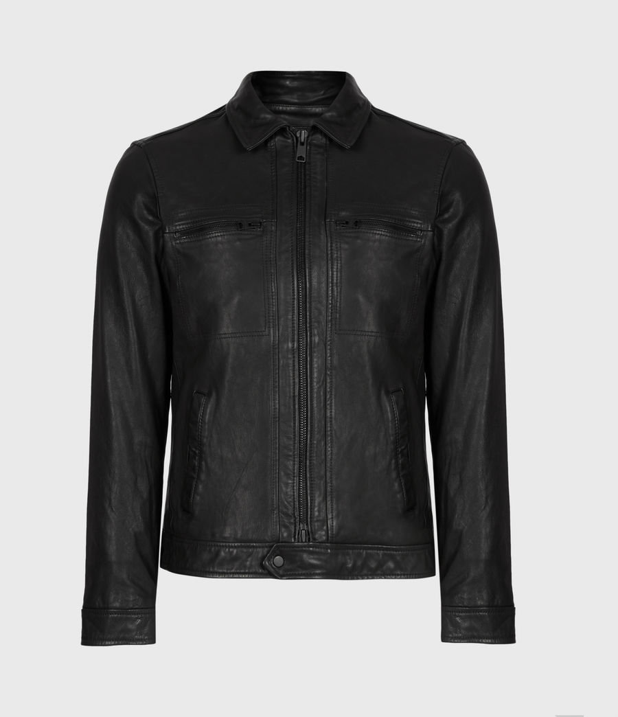 Mens Lark Leather Jacket (black) - Image 2