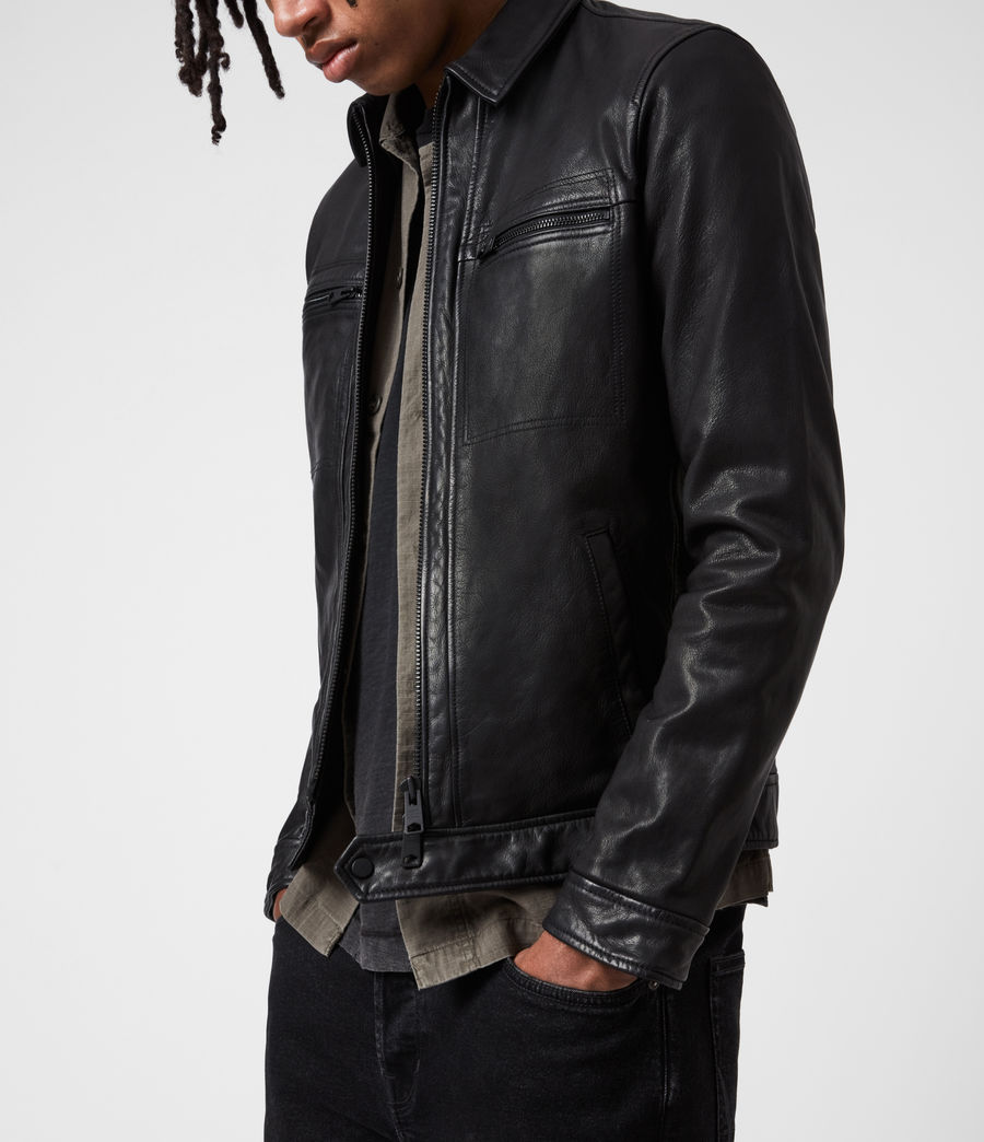 Mens Lark Leather Jacket (black) - Image 4