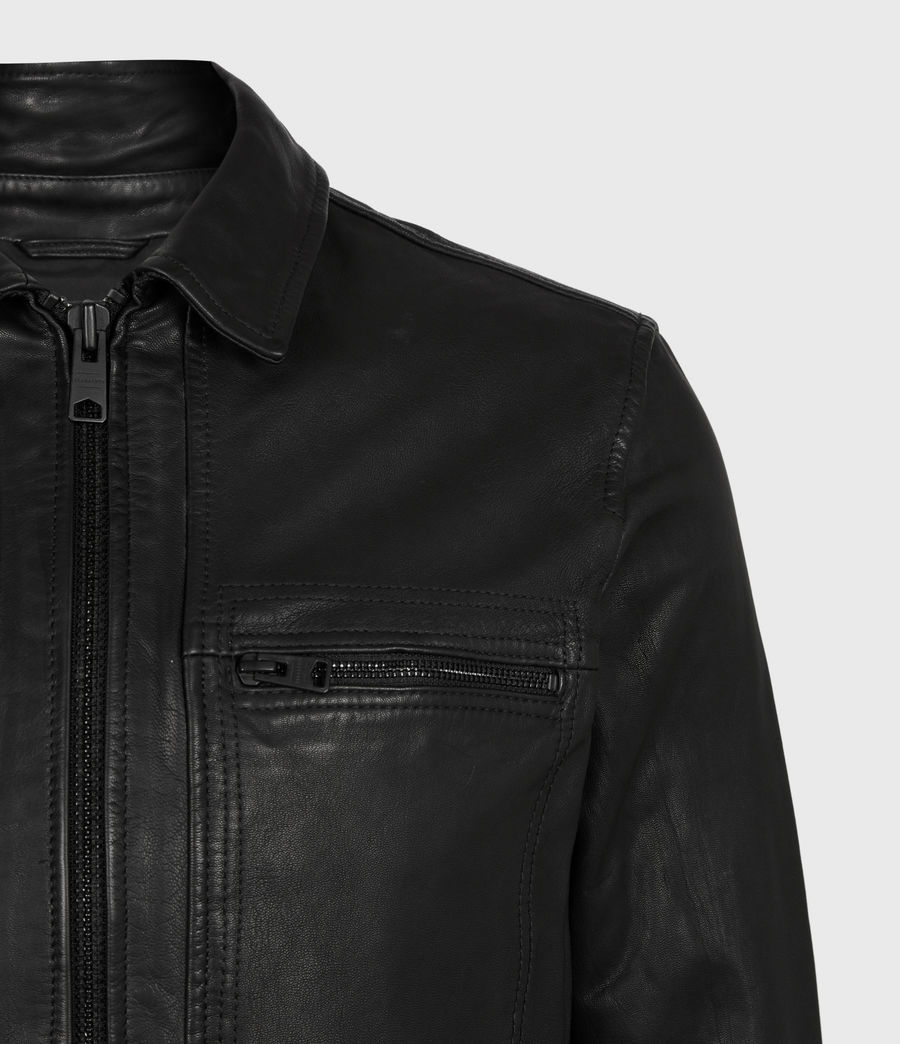 Mens Lark Leather Jacket (black) - Image 5