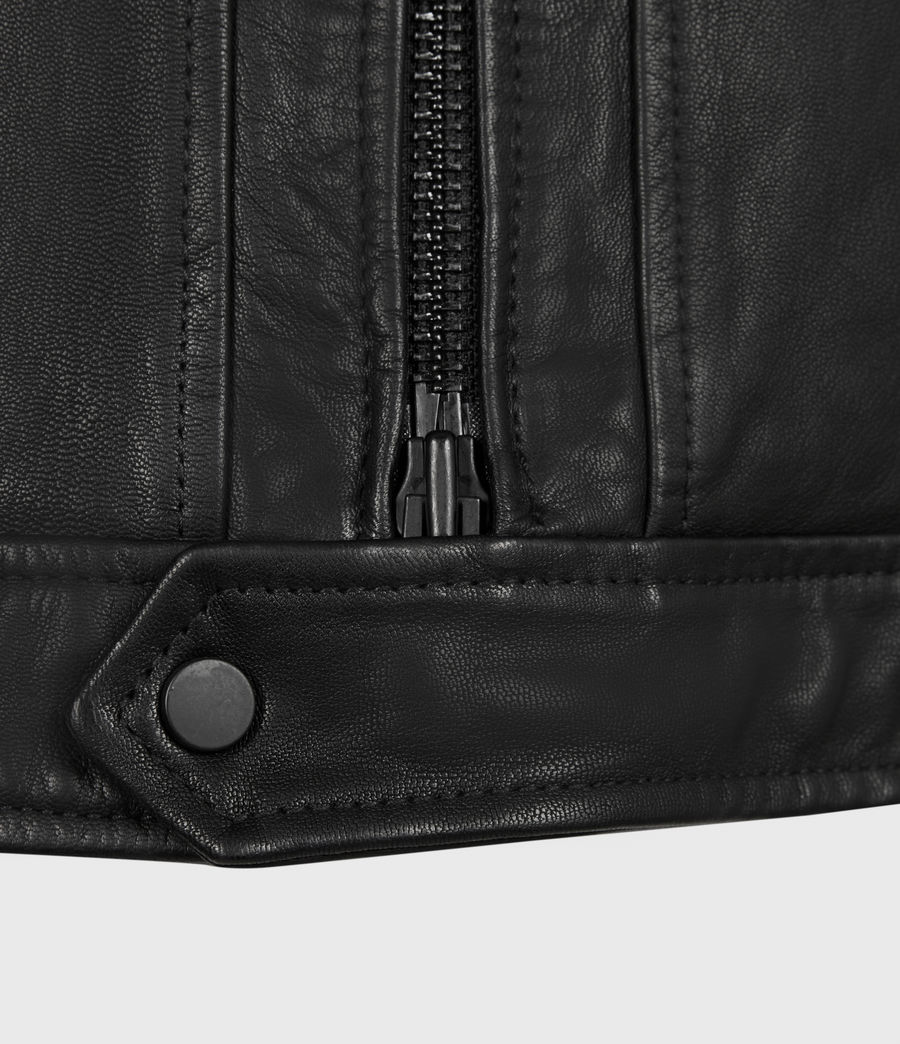 Men's Lark Leather Jacket (black) - Image 6