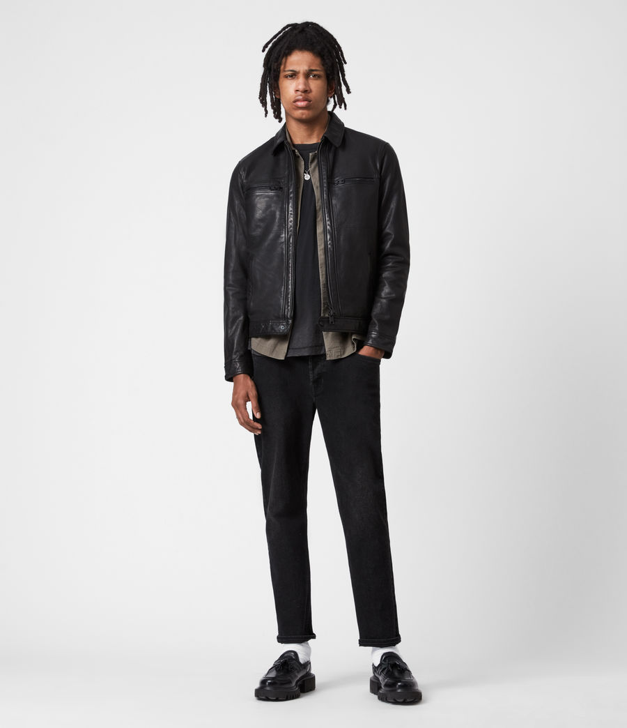 Men's Lark Leather Jacket (black) - Image 7
