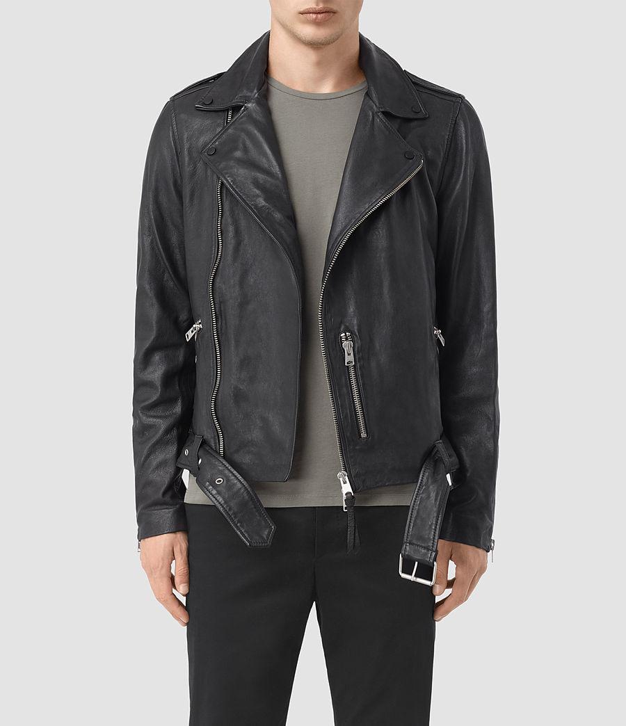 Mens Kahawa Leather Biker Jacket (ink_navy) - Image 1