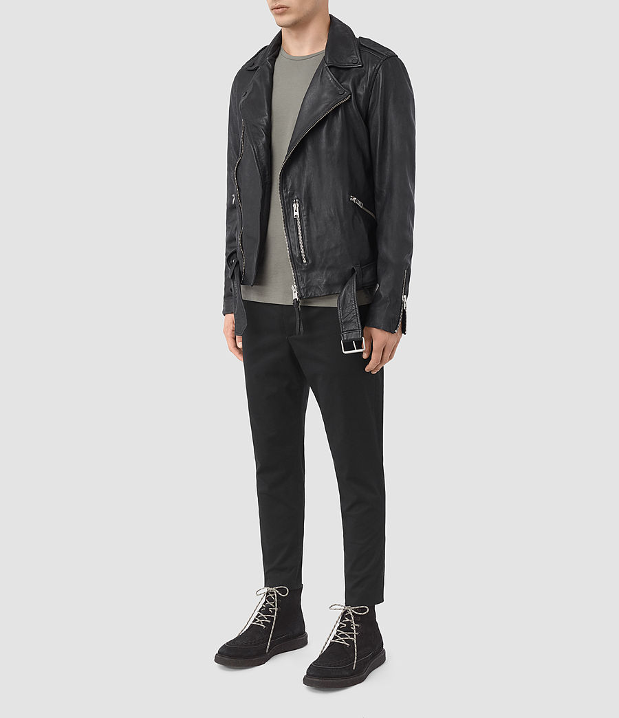 Mens Kahawa Leather Biker Jacket (ink_navy) - Image 2