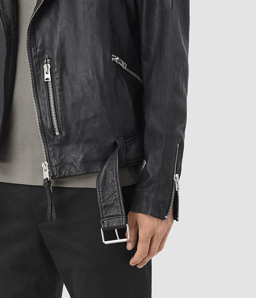 Mens Kahawa Leather Biker Jacket (ink_navy) - Image 3