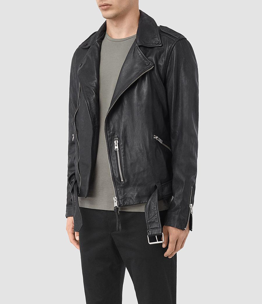 Mens Kahawa Leather Biker Jacket (ink_navy) - Image 4