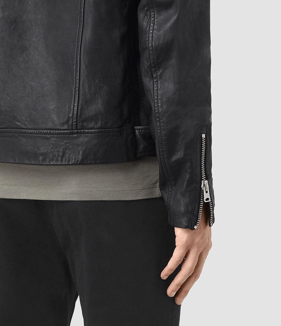 Mens Kahawa Leather Biker Jacket (ink_navy) - Image 5