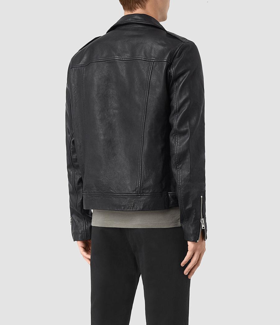 Mens Kahawa Leather Biker Jacket (ink_navy) - Image 6