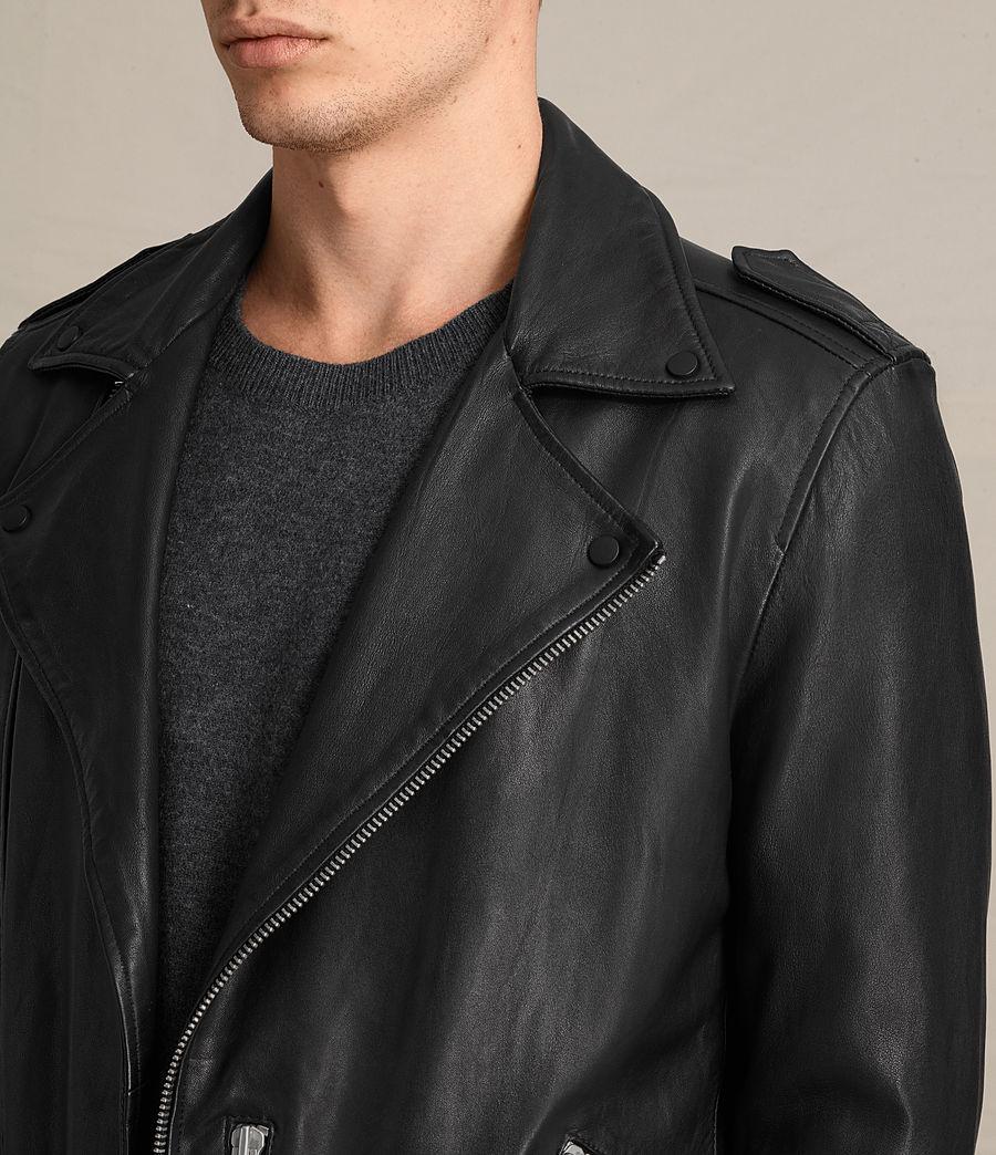 Mens Kahawa Leather Biker Jacket (jet_black) - Image 2