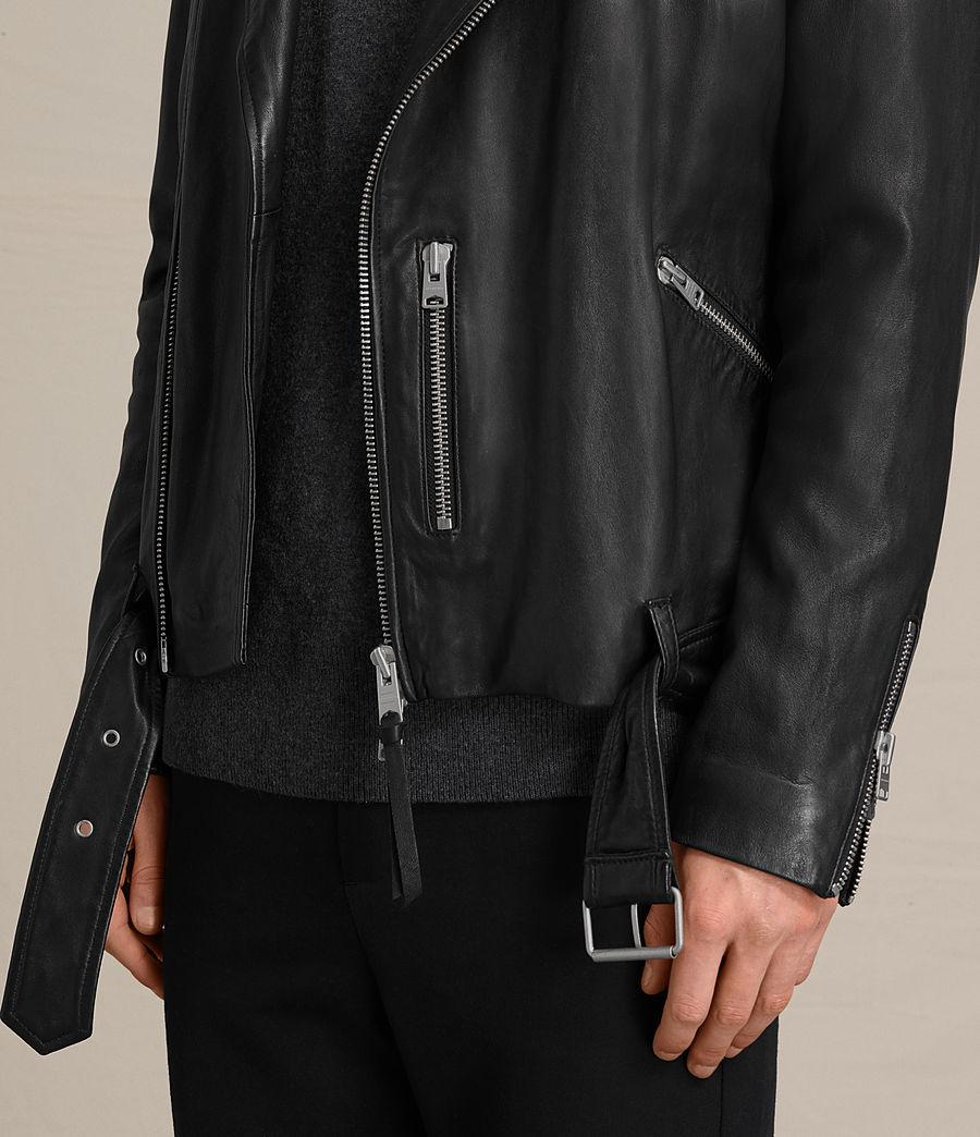 Mens Kahawa Leather Biker Jacket (jet_black) - Image 4