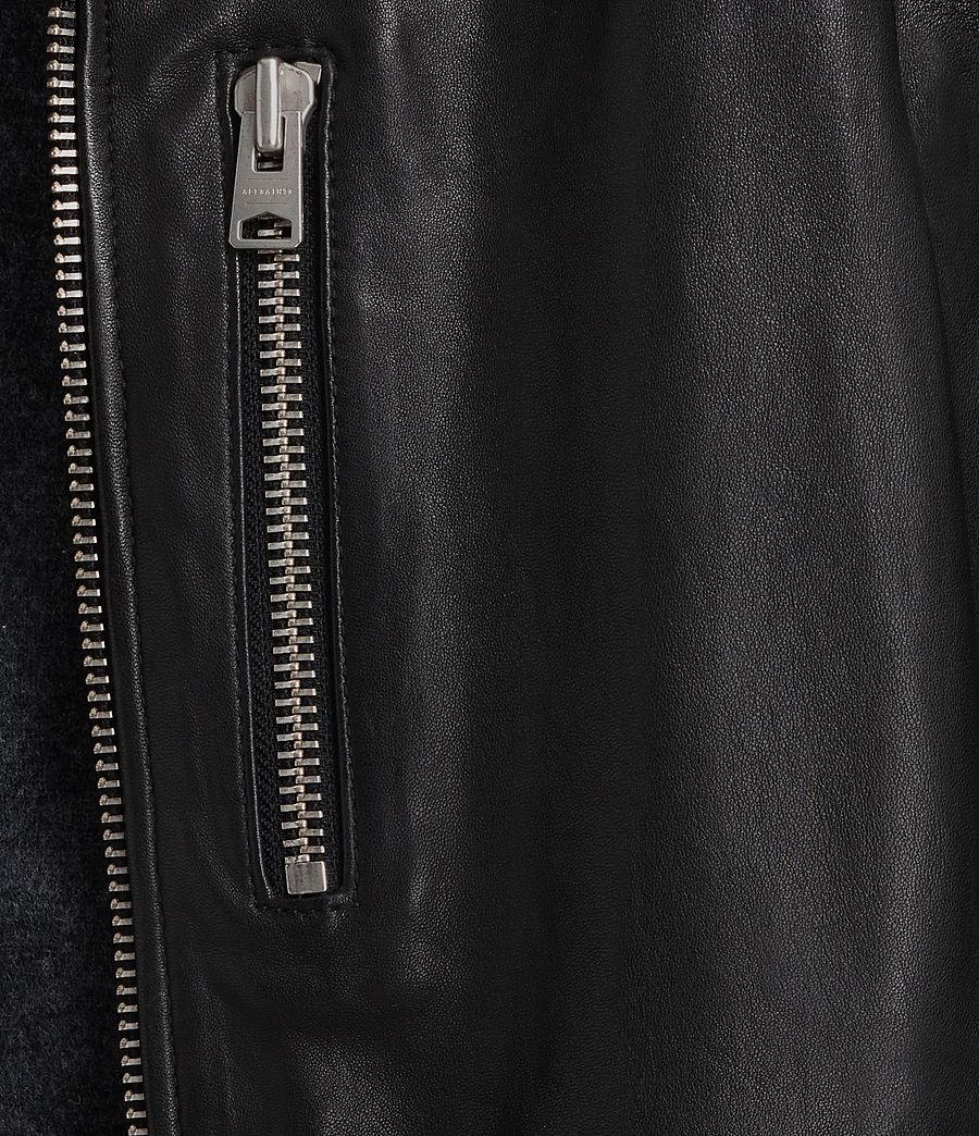 Mens Kahawa Leather Biker Jacket (jet_black) - Image 5