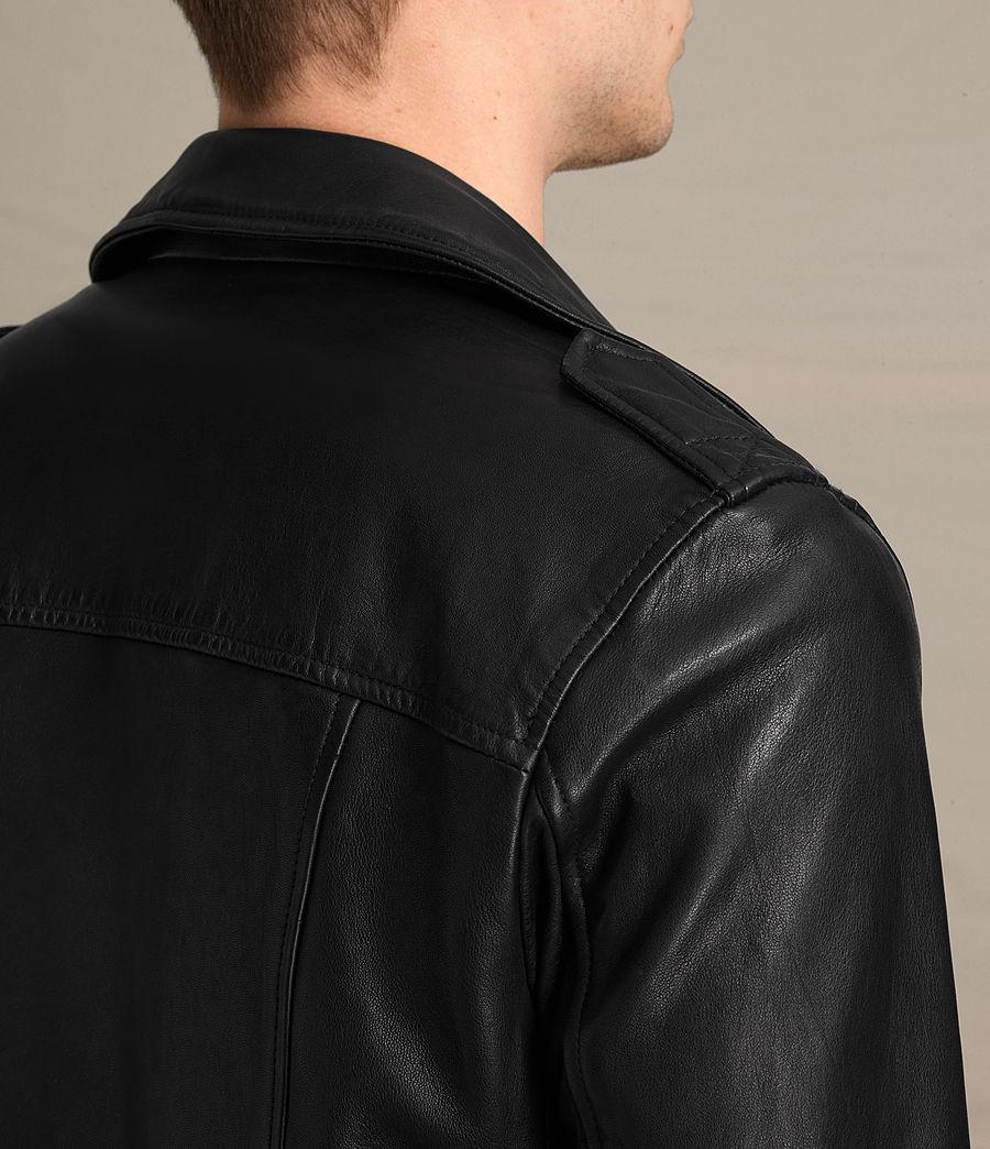 Mens Kahawa Leather Biker Jacket (jet_black) - Image 6