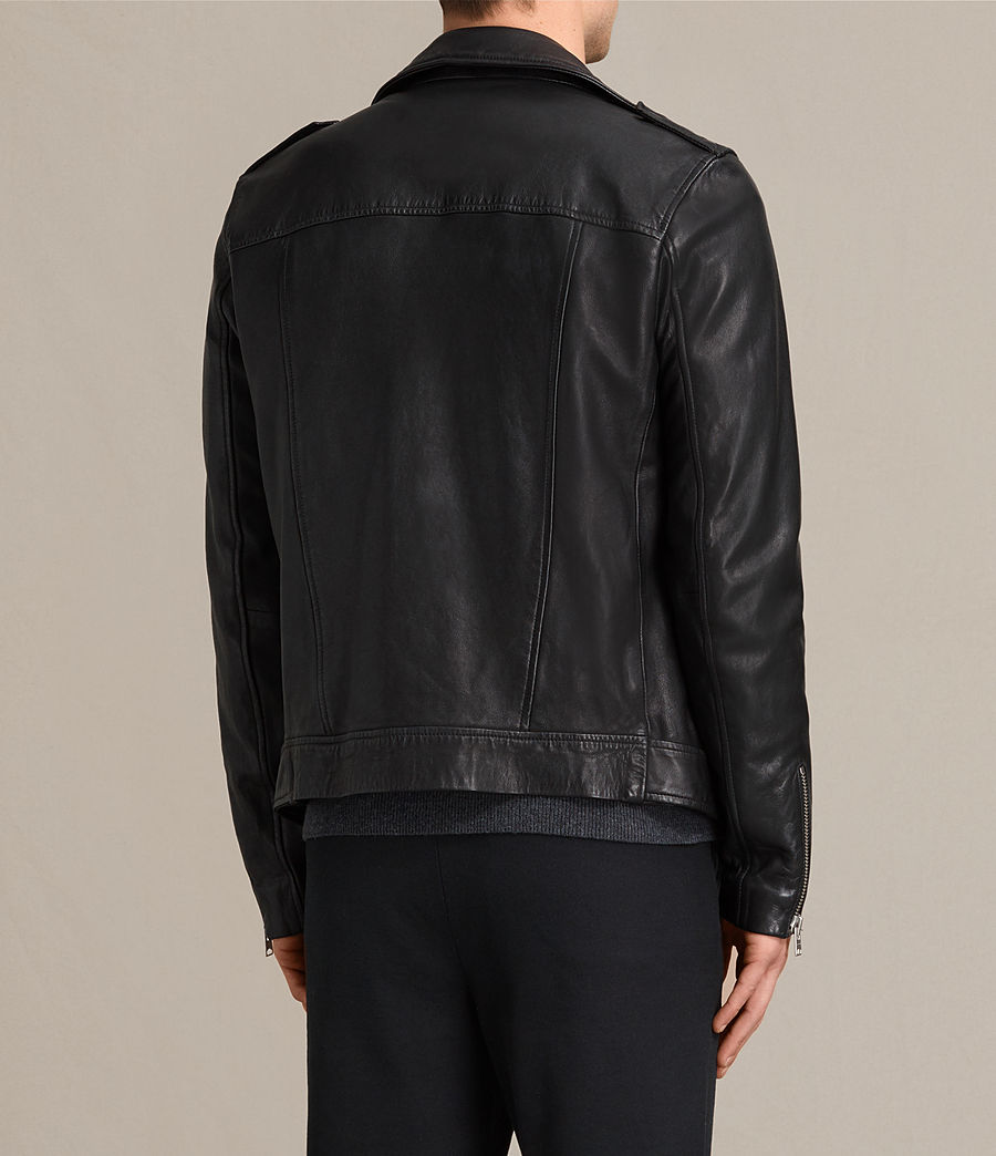 Mens Kahawa Leather Biker Jacket (jet_black) - Image 7