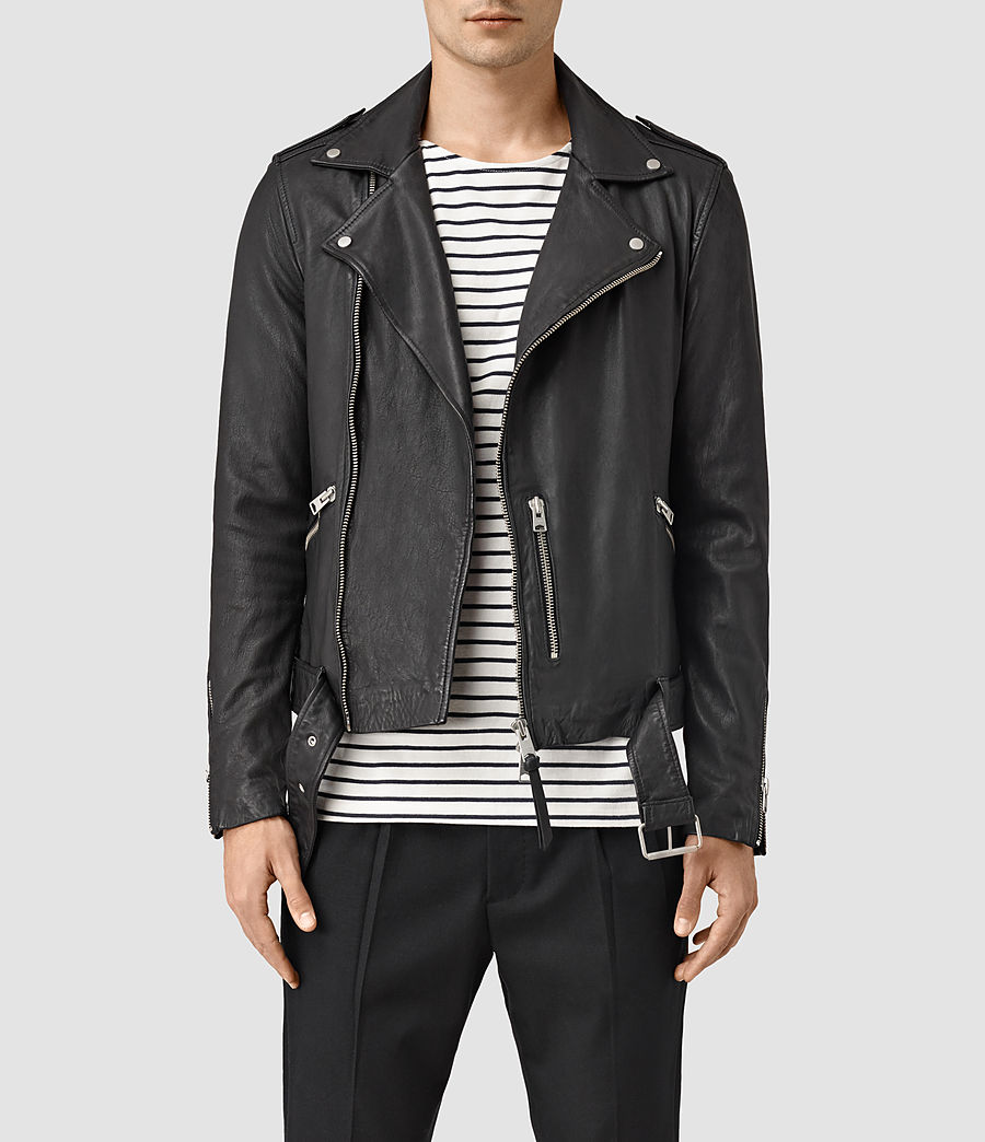 Mens Kahawa Leather Biker Jacket (black) - Image 1