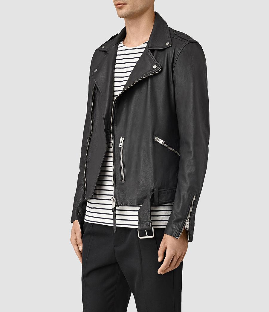 Mens Kahawa Leather Biker Jacket (black) - Image 3