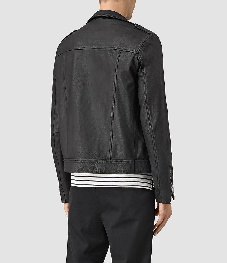 Mens Kahawa Leather Biker Jacket (black) - Image 4