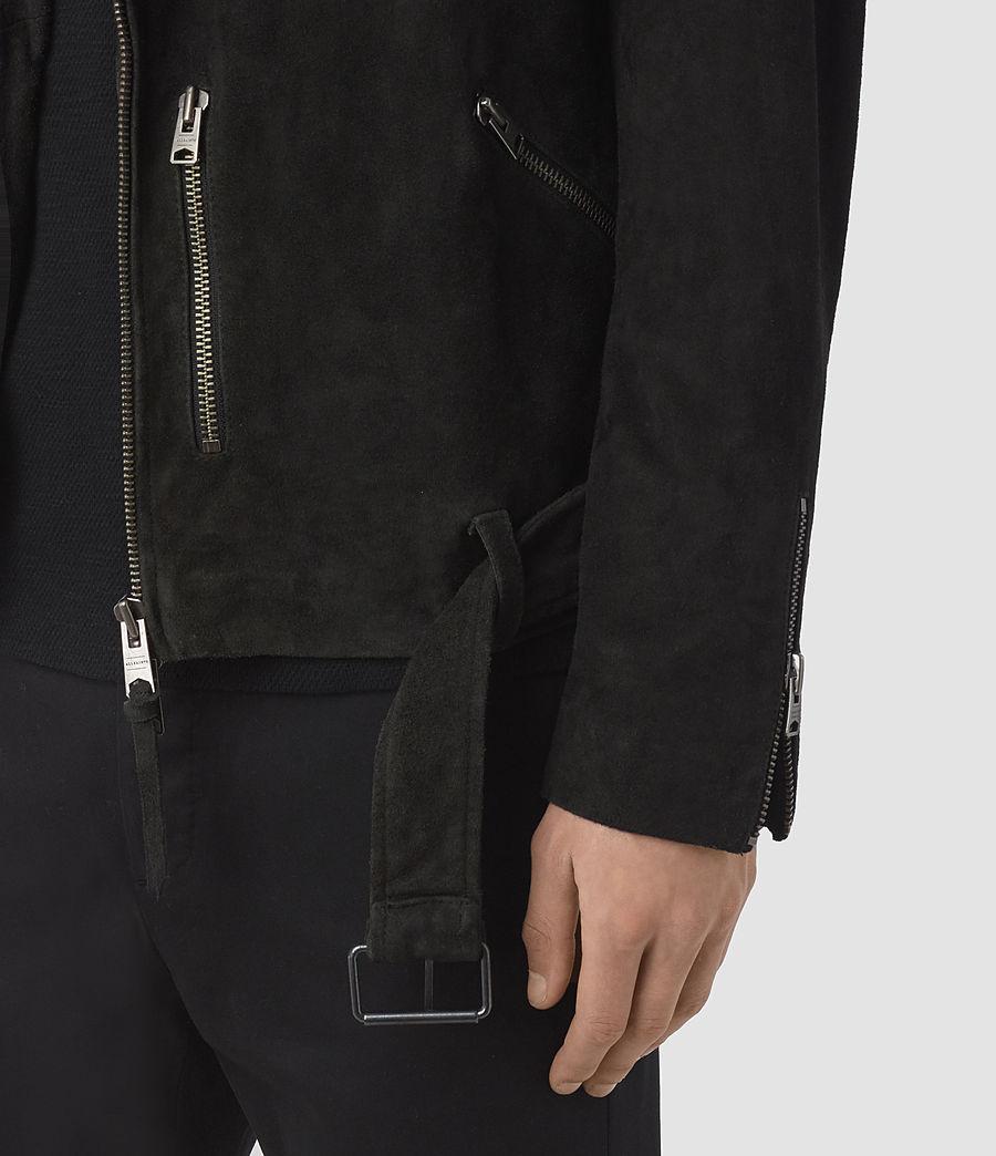 Men's Takeo Suede Biker Jacket (washed_black) - Image 3