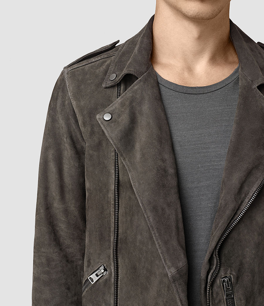 Mens Takeo Suede Biker Jacket (anthracite_grey) - Image 2