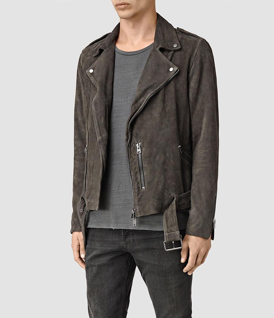 Mens Takeo Suede Biker Jacket (anthracite_grey) - Image 3