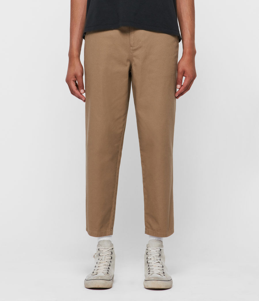 Men's Jute Cropped Wide-Leg Trousers (worn_stone) - Image 1