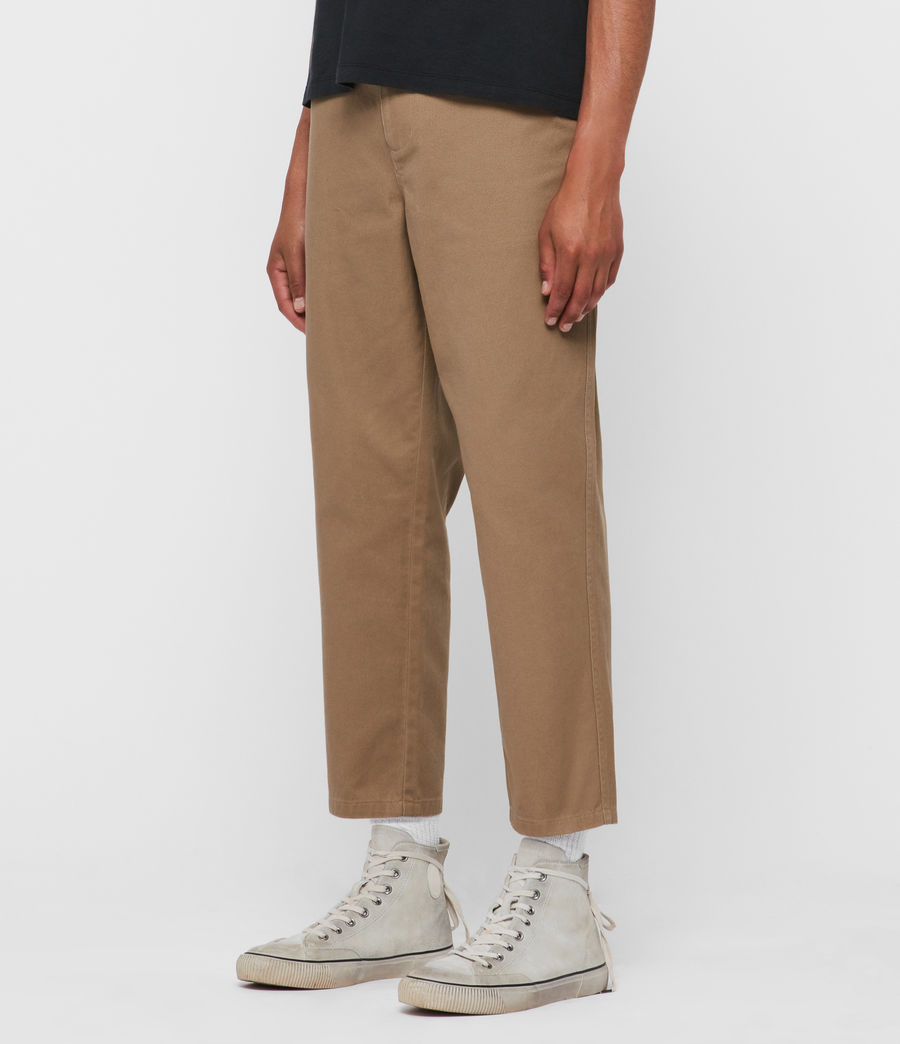 Men's Jute Cropped Wide-Leg Trousers (worn_stone) - Image 4