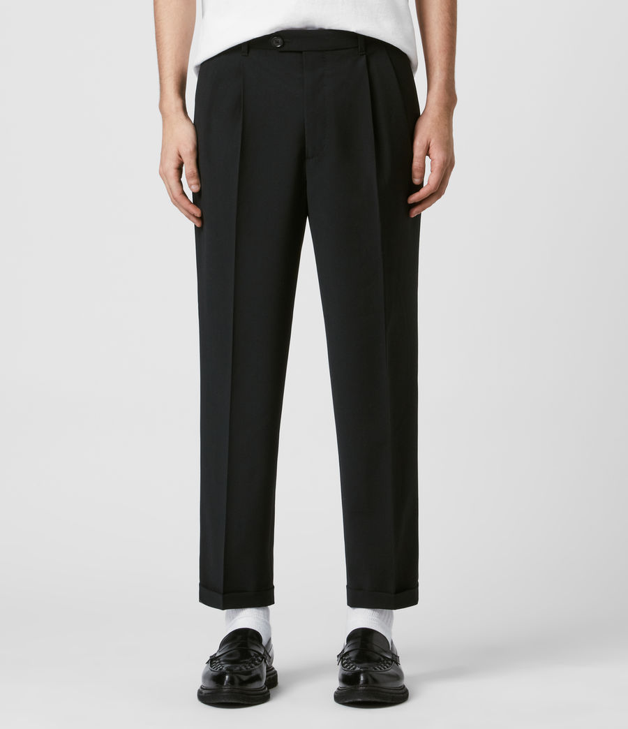 Mens Portman Cropped Straight Pants (black) - Image 1