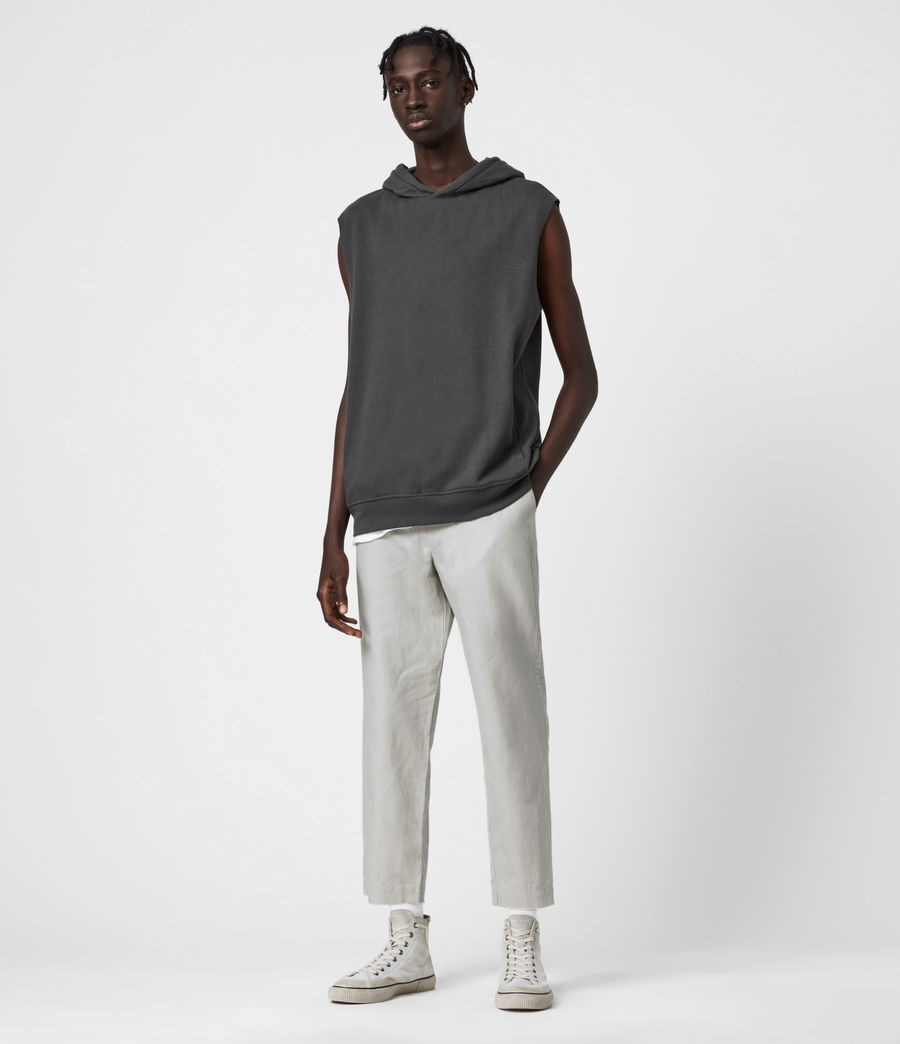 Men's Luckett Linen Blend Cropped Slim Trousers (clay_grey) - Image 1