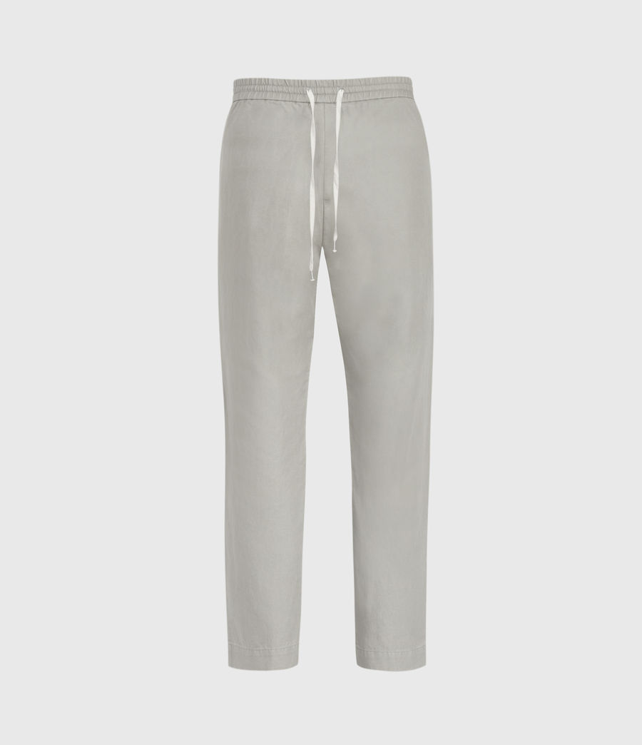 Men's Luckett Linen Blend Cropped Slim Trousers (clay_grey) - Image 2