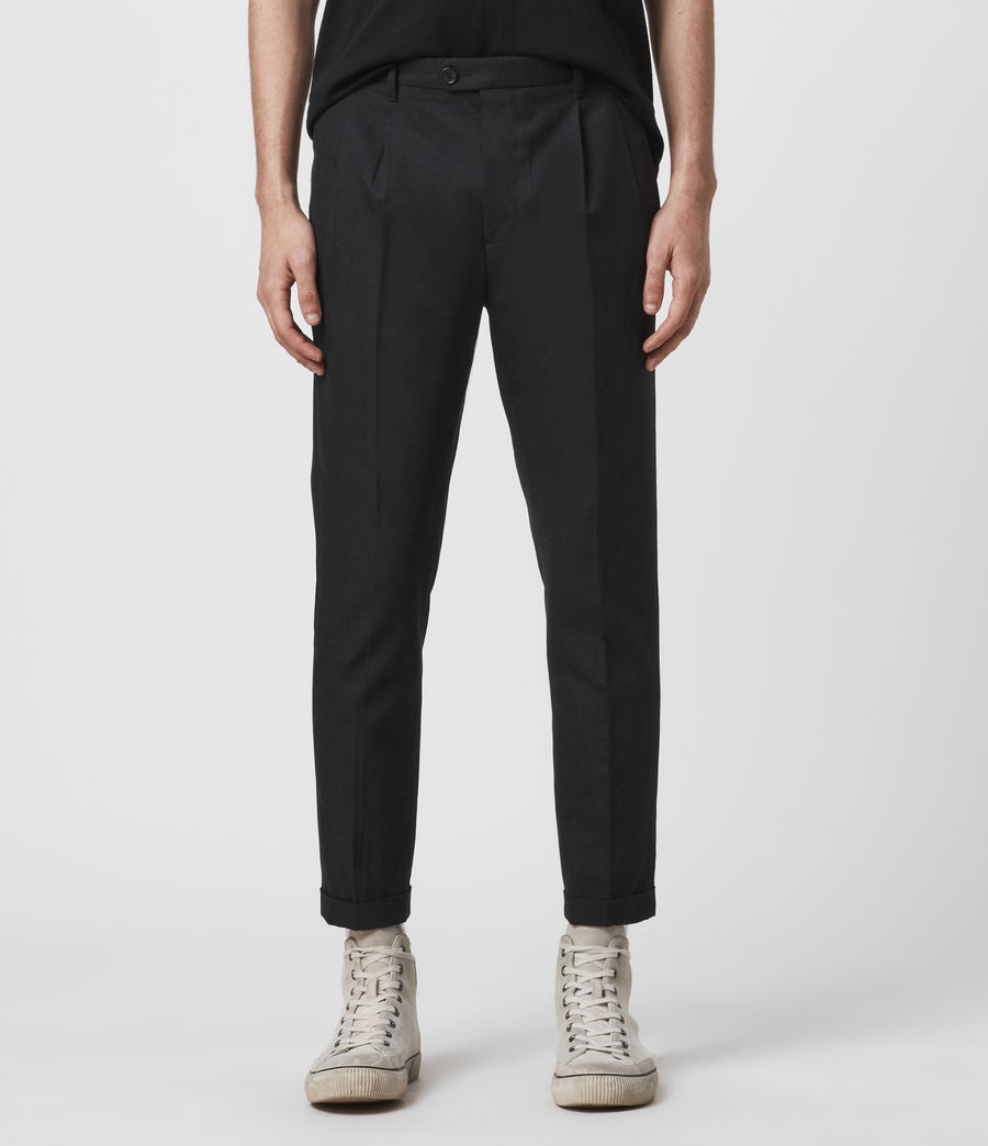 Men's Tallis Cropped Slim Trousers (black) - Image 1