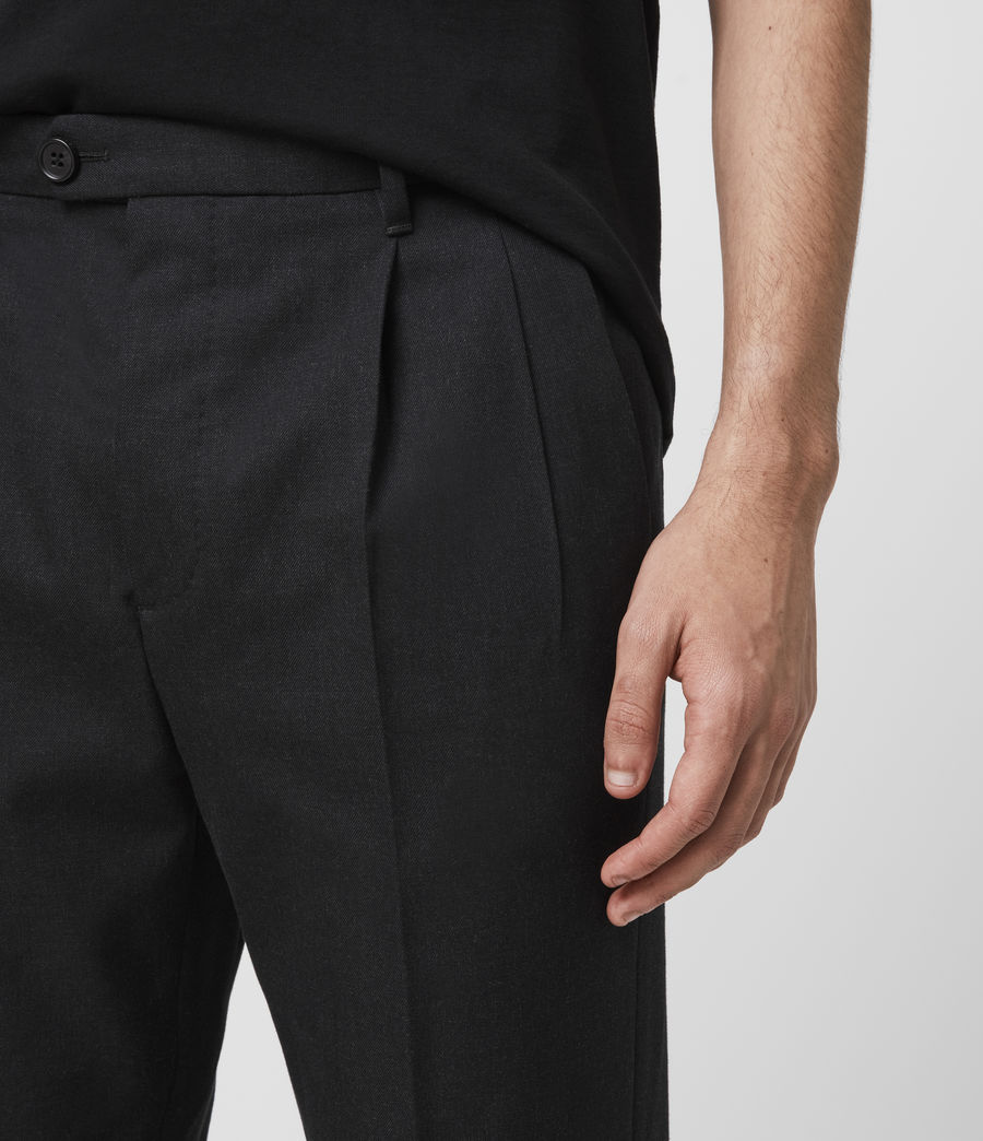 Men's Tallis Cropped Slim Trousers (black) - Image 2