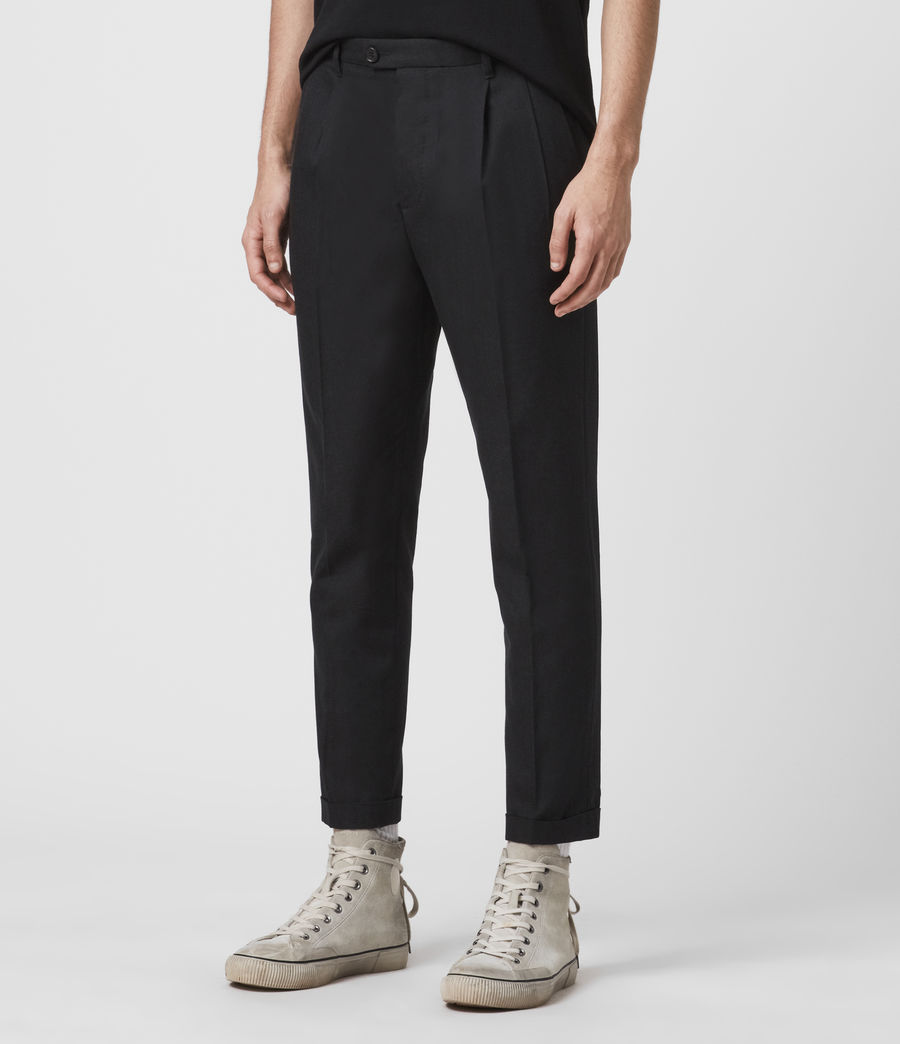 Men's Tallis Cropped Slim Trousers (black) - Image 4