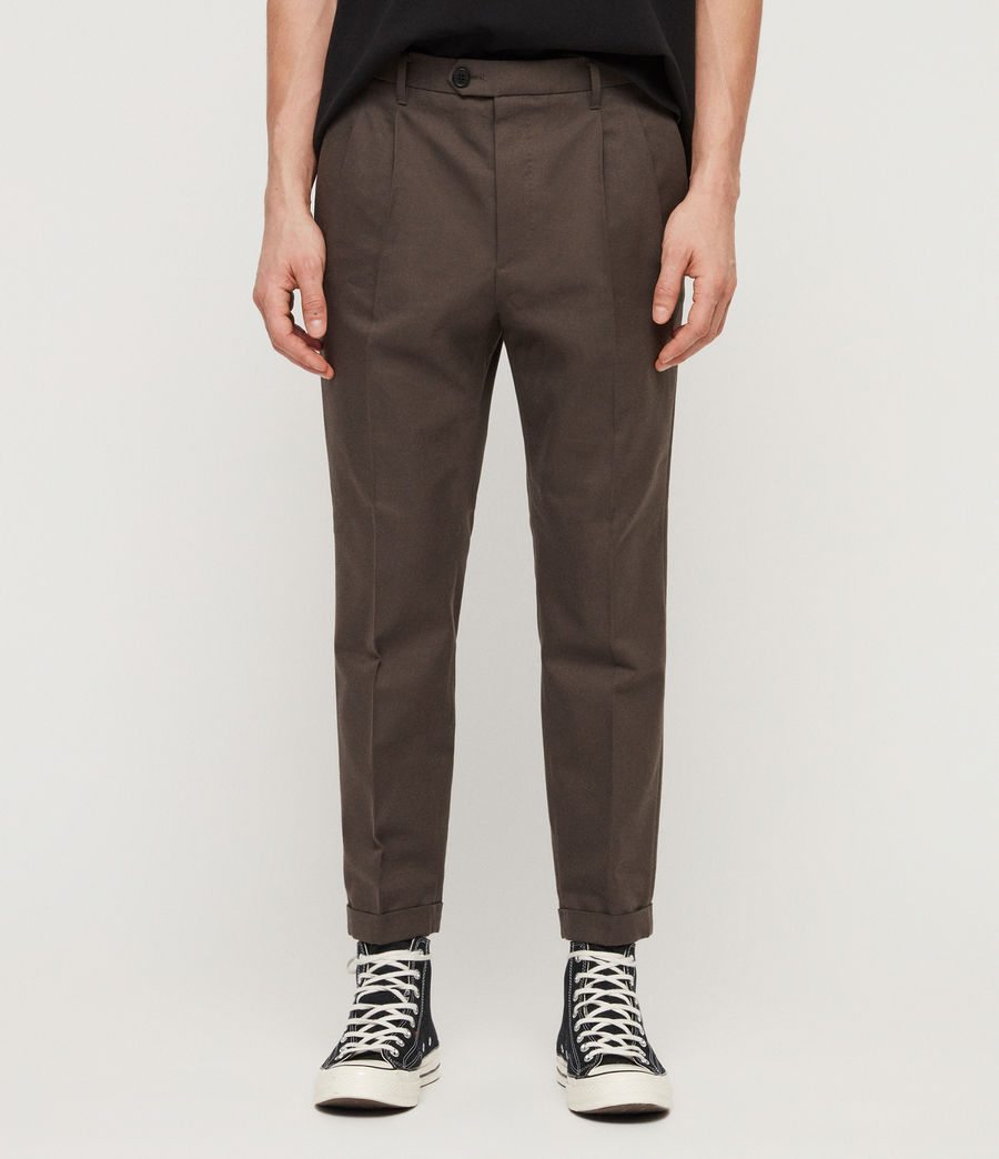 Men's Tallis Cropped Slim Trousers (khaki_green) - Image 1