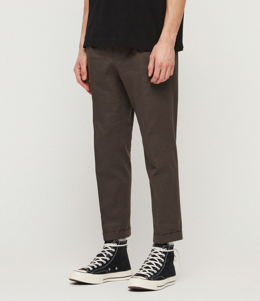 Men's Tallis Cropped Slim Trousers (khaki_green) - Image 2