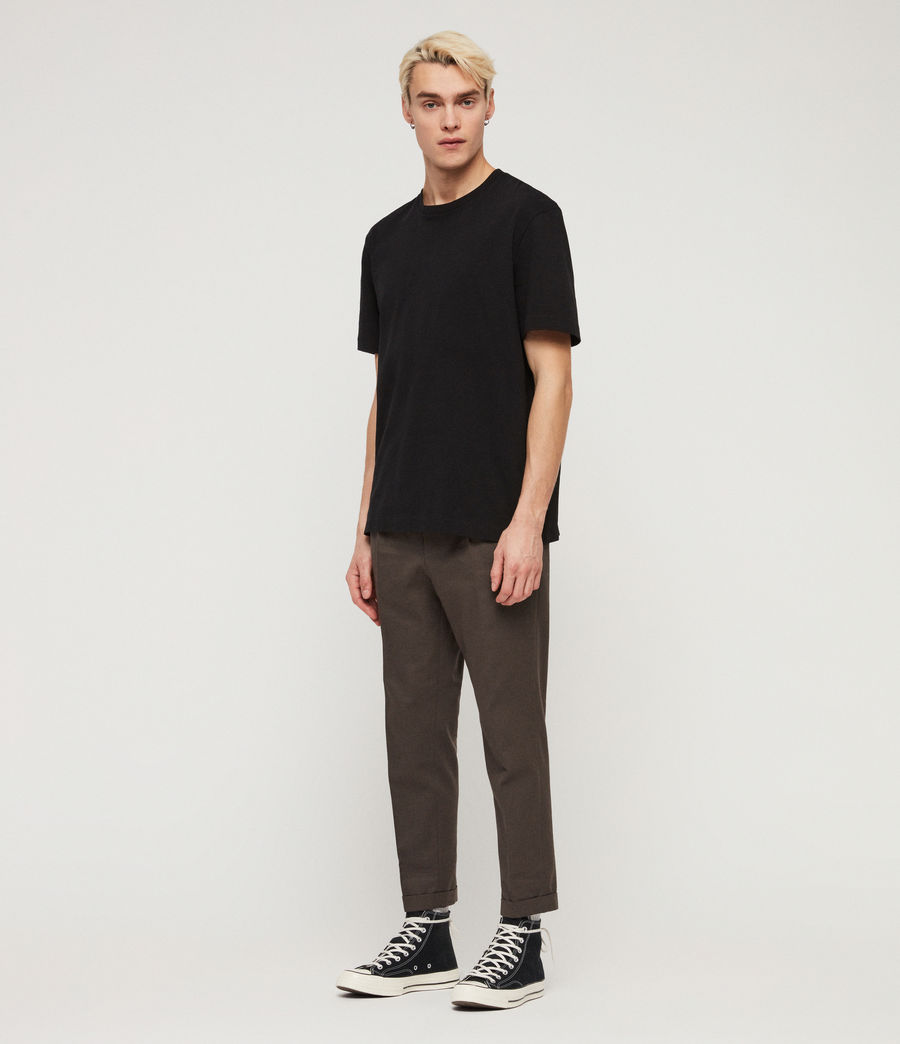 Men's Tallis Cropped Slim Trousers (khaki_green) - Image 3