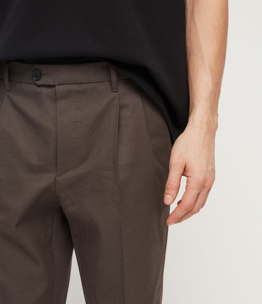Men's Tallis Cropped Slim Trousers (khaki_green) - Image 4