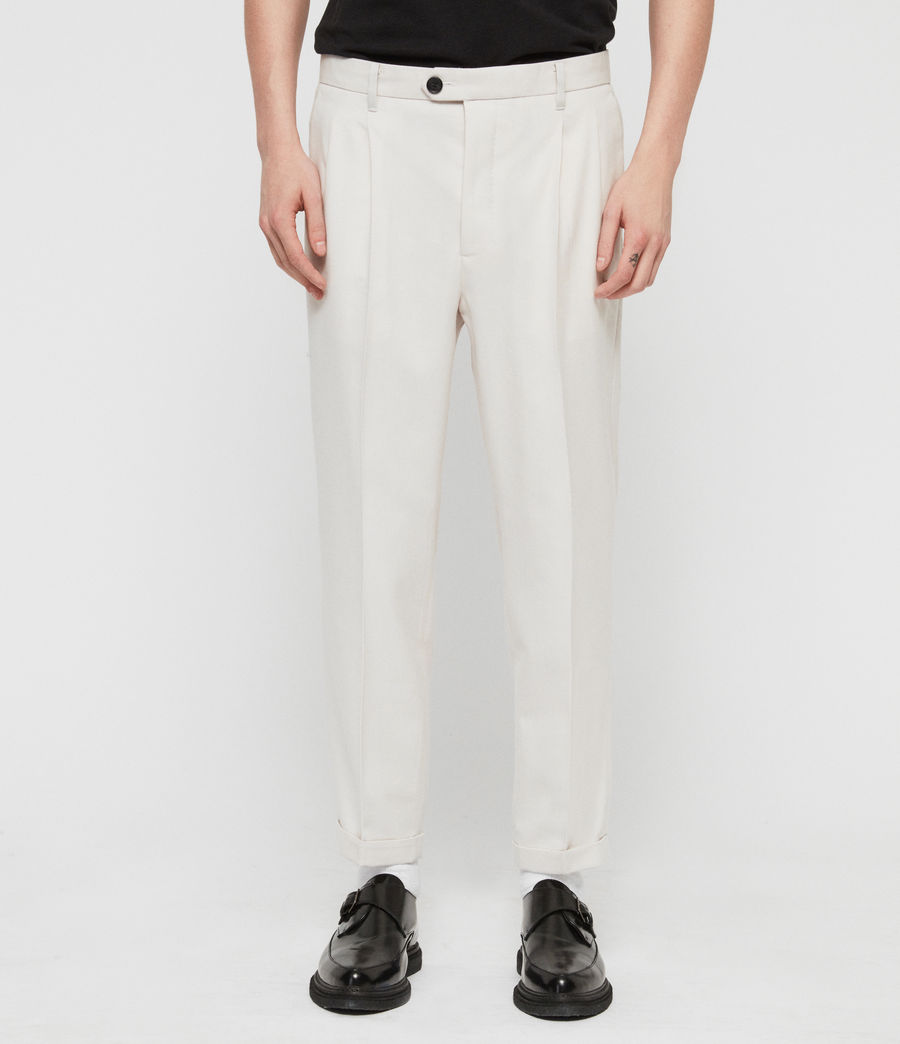 Mens Tallis Cropped Slim Pants (oyster_white) - Image 1