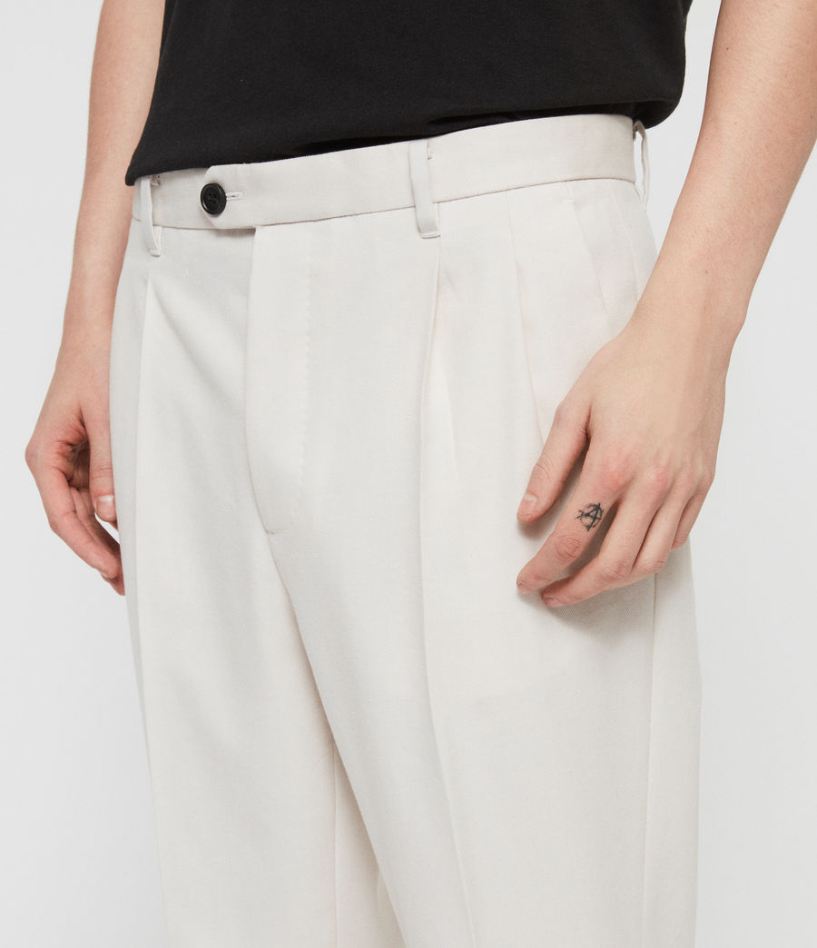 Men's Tallis Cropped Slim Trousers (oyster_white) - Image 2