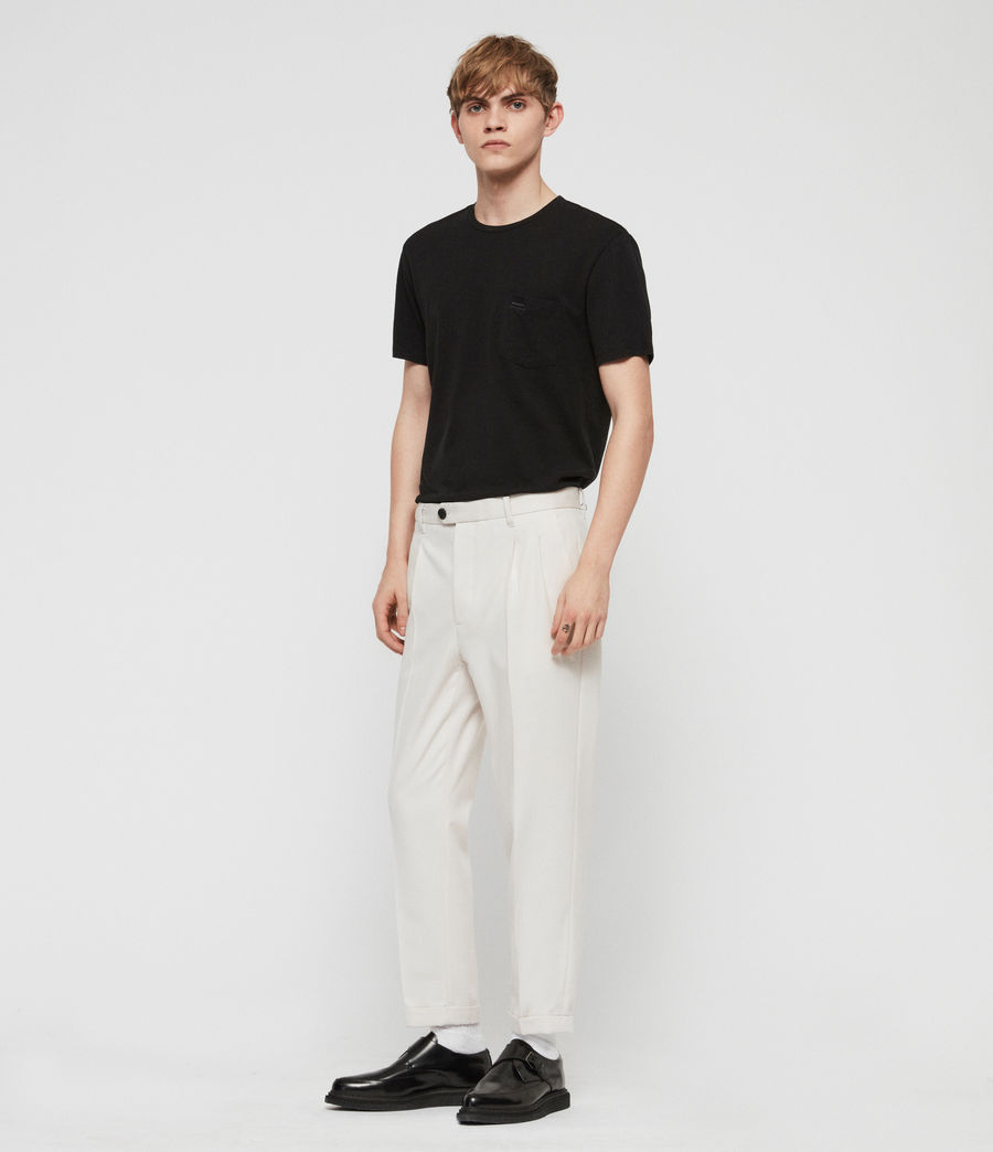Men's Tallis Cropped Slim Trousers (oyster_white) - Image 3