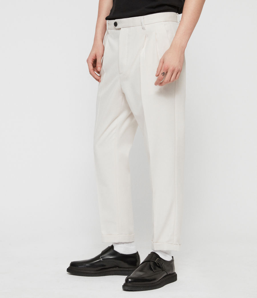 Men's Tallis Cropped Slim Trousers (oyster_white) - Image 4