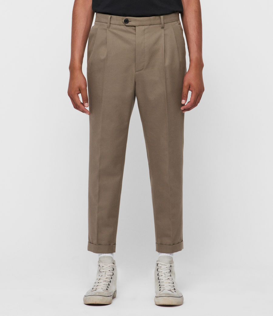 Men's Tallis Cropped Slim Trousers (beech_green) - Image 1