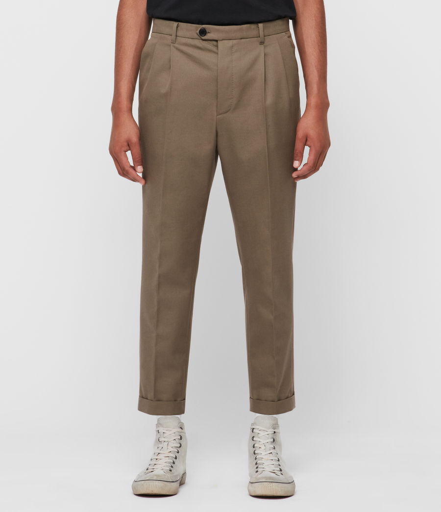 Men's Tallis Cropped Slim Trousers (swat_brown) - Image 1