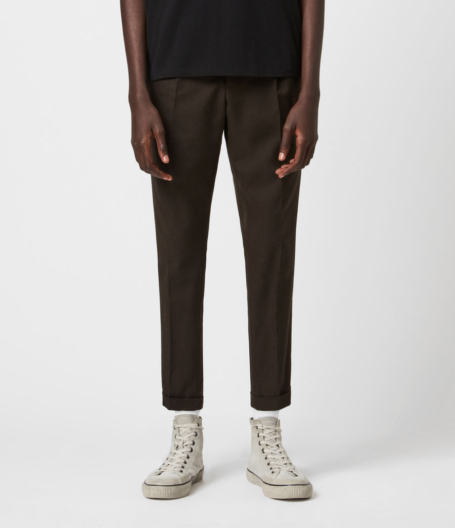 Men's Tallis Cropped Slim Trousers (bitter_chocolate) - Image 1