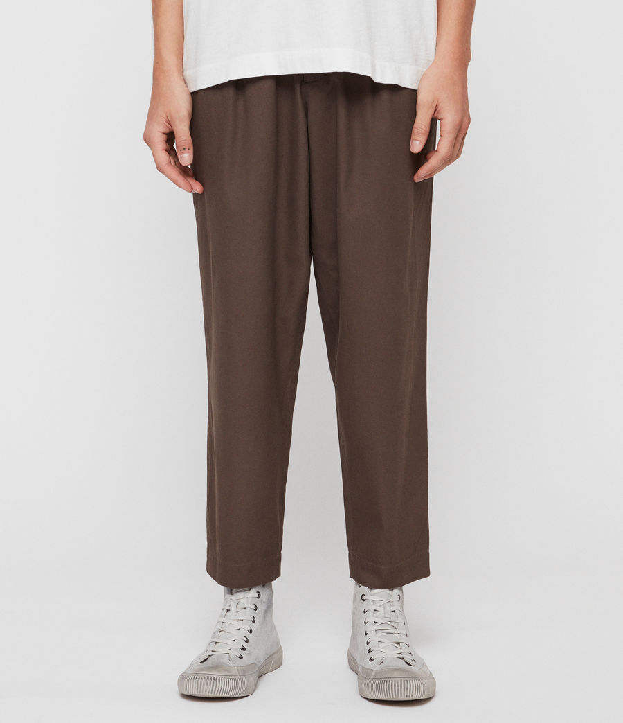 Men's Keet Cropped Wide-Leg Trousers (khaki_green) - Image 1