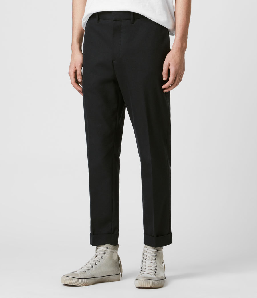 Men's Gibbs Cropped Slim Trousers (black) - Image 4