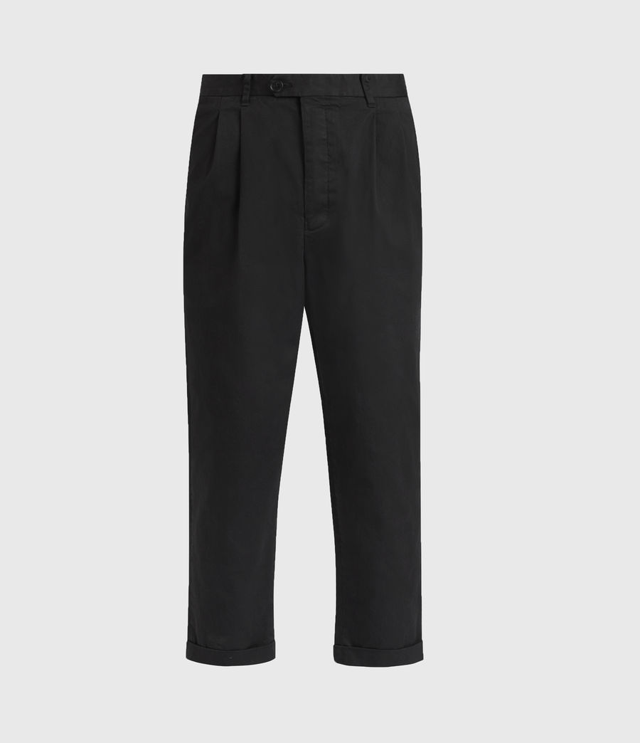 Men's Kali Cropped Straight Trousers (black) - Image 1